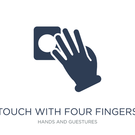 Touch with four fingers icon. Trendy flat vector Touch with four fingers icon on white background from Hands and guestures collection, vector illustration can be use for web and mobile, eps10 Illustration