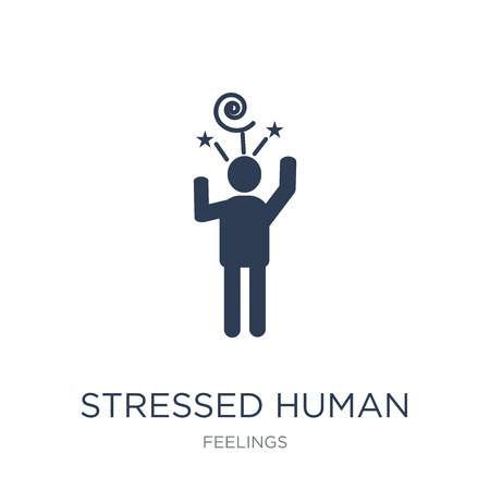 stressed human icon. Trendy flat vector stressed human icon on white background from Feelings collection, vector illustration can be use for web and mobile, eps10