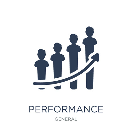 icona delle prestazioni. Icona di prestazioni piatto vettoriale alla moda su priorità bassa bianca da collezione generale, illustrazione vettoriale può essere utilizzato per web e mobile, eps10