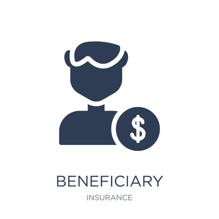 Beneficiary icon. Trendy flat vector Beneficiary icon on white background from Insurance collection, vector illustration can be use for web and mobile, eps10 Ilustração