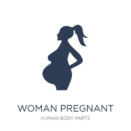 Woman Pregnant icon. Trendy flat vector Woman Pregnant icon on white background from Human Body Parts collection, vector illustration can be use for web and mobile, eps10 Stock Illustratie