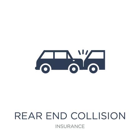 Icona di collisione posteriore. Icona di collisione posteriore piatto alla moda vettoriale su priorità bassa bianca da collezione di assicurazioni, illustrazione vettoriale può essere utilizzato per il web e mobile, eps10