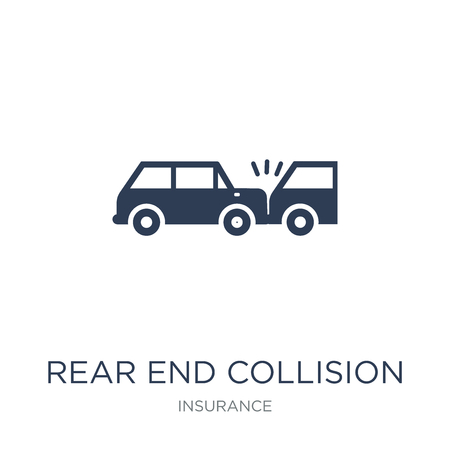 Rear end collision icon. Trendy flat vector Rear end collision icon on white background from Insurance collection, vector illustration can be use for web and mobile, eps10 Stock Vector - 112137623