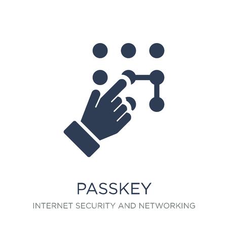 Passkey-Symbol. Trendiges flaches Vektor-Passkey-Symbol auf weißem Hintergrund aus der Internetsicherheits- und Netzwerksammlung, Vektorillustration kann für Web und Mobile verwendet werden, eps10 Vektorgrafik