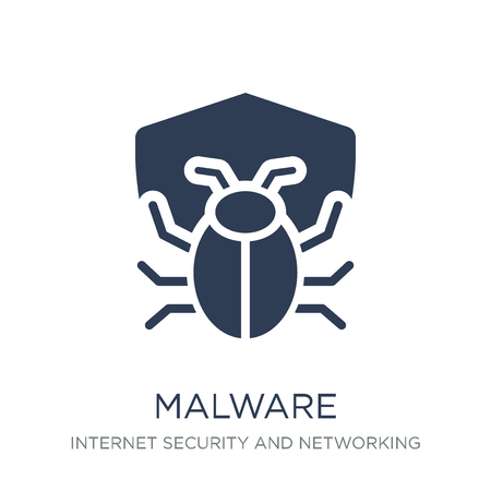 Malware icon. Trendy flat vector Malware icon on white background from Internet Security and Networking collection, vector illustration can be use for web and mobile, eps10