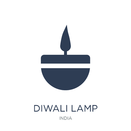Diwali lamp icon. Trendy flat vector Diwali lamp icon on white background from india collection, vector illustration can be use for web and mobile, eps10 Stock Vector - 112137680