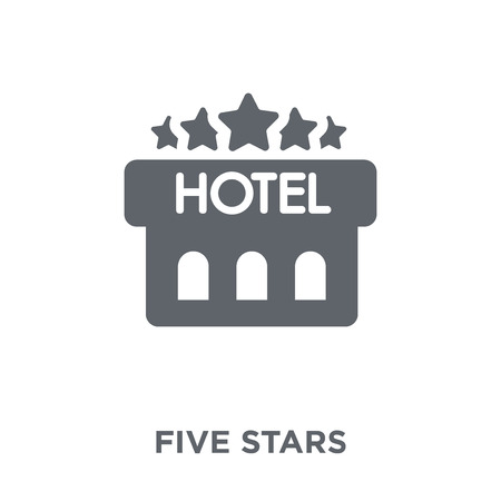 Five stars icon. Five stars design concept from Hotel collection. Simple element vector illustration on white background. Banque d'images - 112137681