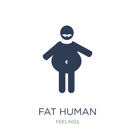 fat human icon. Trendy flat vector fat human icon on white background from Feelings collection, vector illustration can be use for web and mobile, eps10 Stock Illustratie