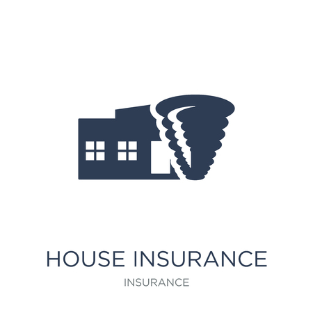 House insurance for storms icon. Trendy flat vector House insurance for storms icon on white background from Insurance collection, vector illustration can be use for web and mobile, eps10