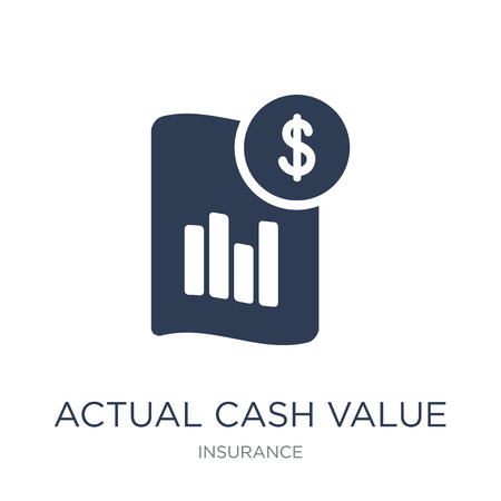 Actual Cash Value icon. Trendy flat vector Actual Cash Value icon on white background from Insurance collection, vector illustration can be use for web and mobile, eps10