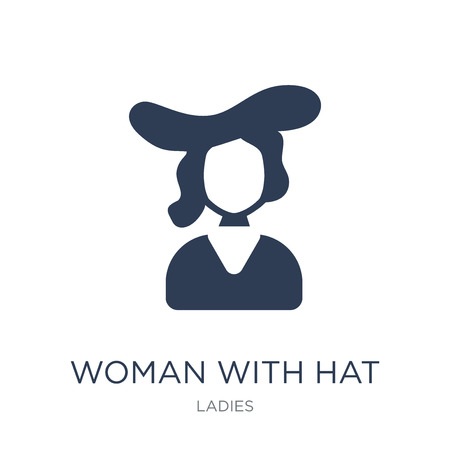 Woman with Hat icon. Trendy flat vector Woman with Hat icon on white background from Ladies collection, vector illustration can be use for web and mobile, eps10 Vektorové ilustrace