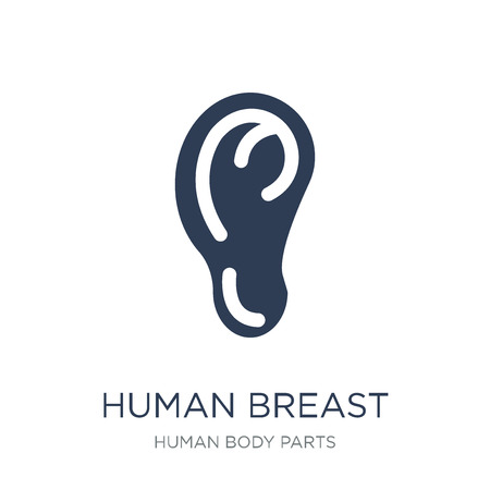 Human Breast icon. Trendy flat vector Human Breast icon on white background from Human Body Parts collection, vector illustration can be use for web and mobile, eps10 Foto de archivo - 112137719