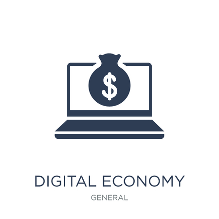 digital economy icon. Trendy flat vector digital economy icon on white background from general collection, vector illustration can be use for web and mobile, eps10