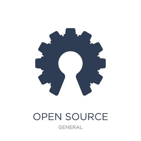 icona dell'open source. Icona di open source piatto vettoriale su priorità bassa bianca da collezione generale, illustrazione vettoriale può essere utilizzato per web e mobile, eps10