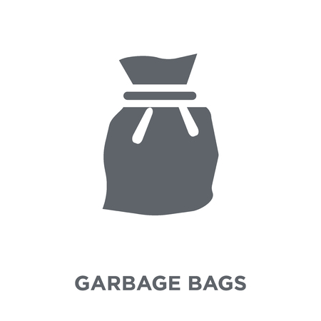 Garbage bags icon. Garbage bags design concept from Furniture and household collection. Simple element vector illustration on white background. Ilustração