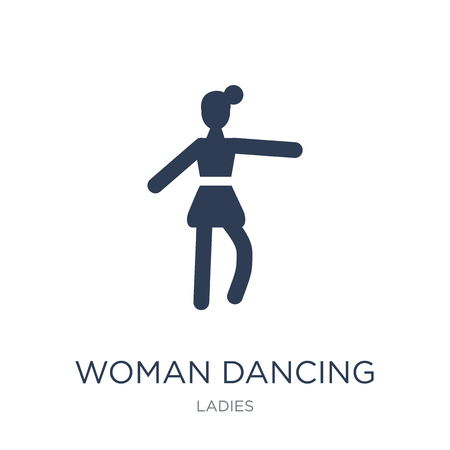 Woman Dancing Ballet icon. Trendy flat vector Woman Dancing Ballet icon on white background from Ladies collection, vector illustration can be use for web and mobile, eps10 Foto de archivo - 112137785