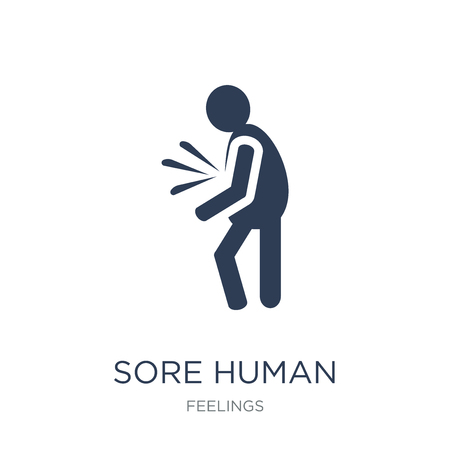 sore human icon. Trendy flat vector sore human icon on white background from Feelings collection, vector illustration can be use for web and mobile, eps10