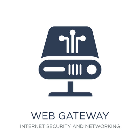 web gateway icon. Trendy flat vector web gateway icon on white background from Internet Security and Networking collection, vector illustration can be use for web and mobile, eps10 Ilustração
