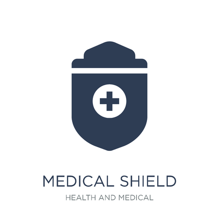 medical Shield icon. Trendy flat vector medical Shield icon on white background from Health and Medical collection, vector illustration can be use for web and mobile, eps10 Illustration