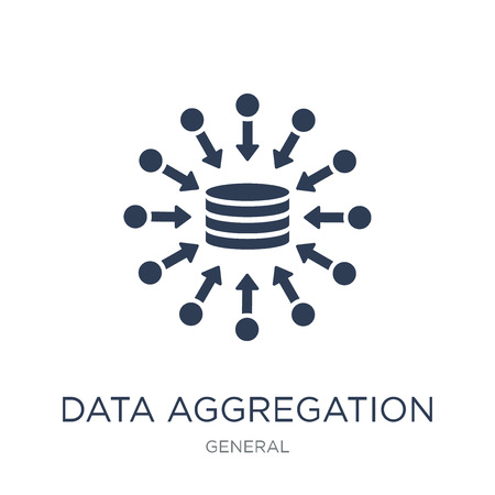 data aggregation icon. Trendy flat vector data aggregation icon on white background from general collection, vector illustration can be use for web and mobile, eps10