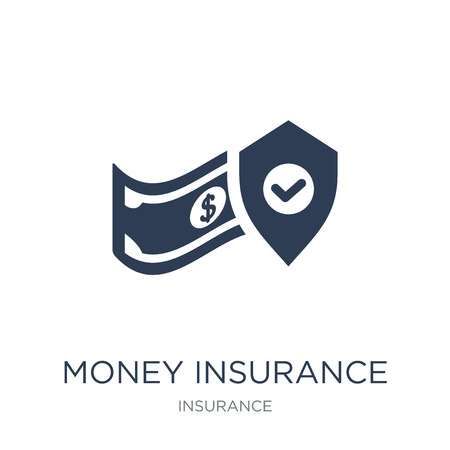 money insurance icon. Trendy flat vector money insurance icon on white background from Insurance collection, vector illustration can be use for web and mobile, eps10 Foto de archivo - 112138027