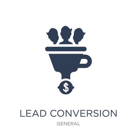 lead conversie icoon. Trendy platte vector lead conversie pictogram op witte achtergrond uit algemene collectie, vectorillustratie kan worden gebruikt voor web en mobiel, eps10 Vector Illustratie
