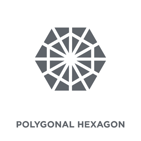 Polygonal hexagon icon. Polygonal hexagon design concept from Geometry collection. Simple element vector illustration on white background.