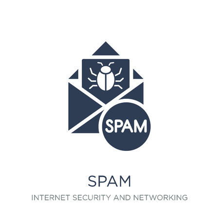 Spam icon. Trendy flat vector Spam icon on white background from Internet Security and Networking collection, vector illustration can be use for web and mobile, eps10