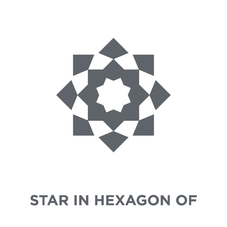 Star in hexagon of small triangles icon. Star in hexagon of small triangles design concept from Geometry collection. Simple element vector illustration on white background. Ilustrace