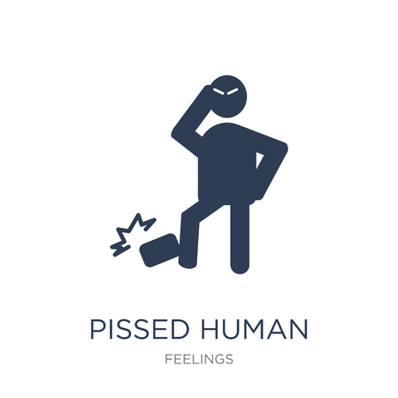 pissed human icon. Trendy flat vector pissed human icon on white background from Feelings collection, vector illustration can be use for web and mobile, eps10