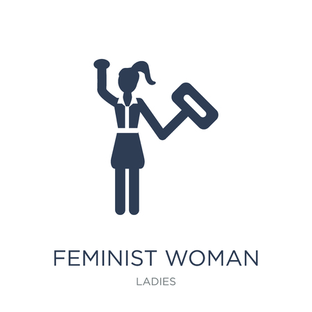 Feminist Woman icon. Trendy flat vector Feminist Woman icon on white background from Ladies collection, vector illustration can be use for web and mobile, eps10 Illustration