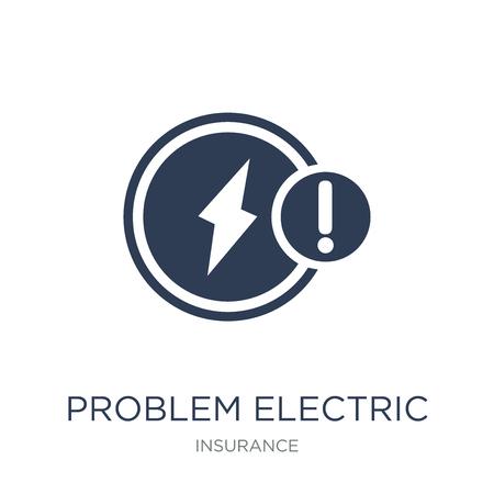 Icona elettrica problema. Icona elettrica problema piatto vettoriale su priorità bassa bianca da collezione di assicurazioni, illustrazione vettoriale può essere utilizzata per il web e mobile, eps10