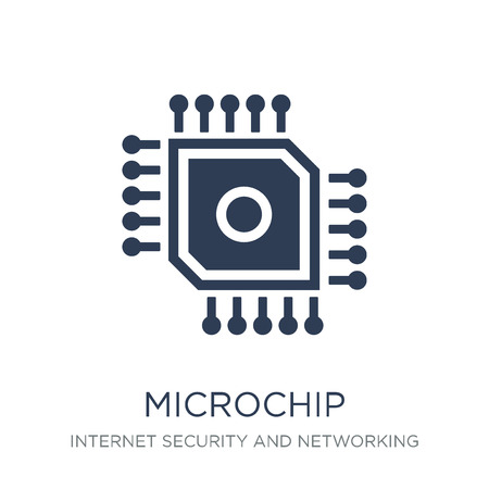 Microchip icon. Trendy flat vector Microchip icon on white background from Internet Security and Networking collection, vector illustration can be use for web and mobile, eps10