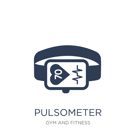 Pulsometer icon. Trendy flat vector Pulsometer icon on white background from Gym and fitness collection, vector illustration can be use for web and mobile, eps10  イラスト・ベクター素材