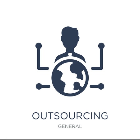 outsourcing icon. Trendy flat vector outsourcing icon on white background from General collection, vector illustration can be use for web and mobile, eps10