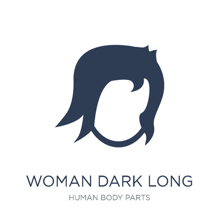Woman dark long hair icon. Trendy flat vector Woman dark long hair icon on white background from Human Body Parts collection, vector illustration can be use for web and mobile, eps10