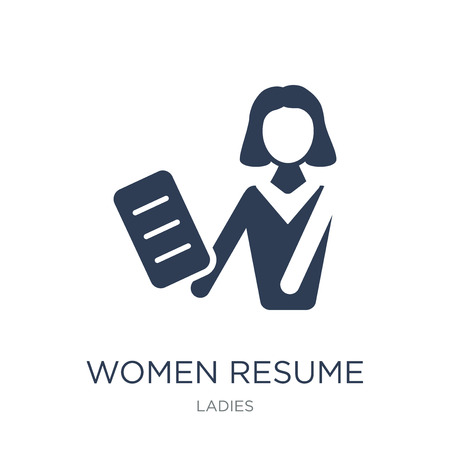 Women Resume icon. Trendy flat vector Women Resume icon on white background from Ladies collection, vector illustration can be use for web and mobile, eps10