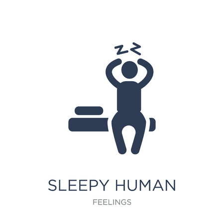 sleepy human icon. Trendy flat vector sleepy human icon on white background from Feelings collection, vector illustration can be use for web and mobile, eps10