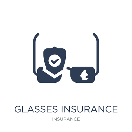 Glasses insurance icon. Trendy flat vector Glasses insurance icon on white background from Insurance collection, vector illustration can be use for web and mobile, eps10 Çizim
