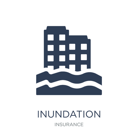 Inundation icon. Trendy flat vector Inundation icon on white background from Insurance collection, vector illustration can be use for web and mobile, eps10 Ilustração