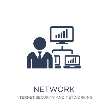 network adminstrator icon. Trendy flat vector network adminstrator icon on white background from Internet Security and Networking collection, vector illustration can be use for web and mobile, eps10
