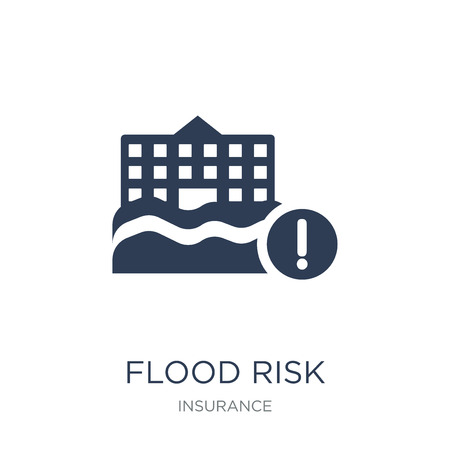 Flood risk icon. Trendy flat vector Flood risk icon on white background from Insurance collection, vector illustration can be use for web and mobile, eps10 Illusztráció