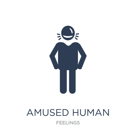 amused human icon. Trendy flat vector amused human icon on white background from Feelings collection, vector illustration can be use for web and mobile, eps10 Illustration