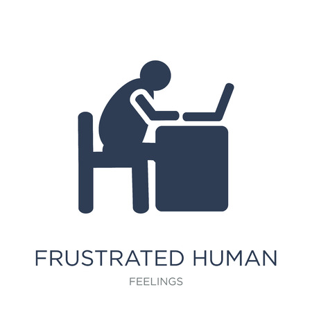 frustrated human icon. Trendy flat vector frustrated human icon on white background from Feelings collection, vector illustration can be use for web and mobile, eps10