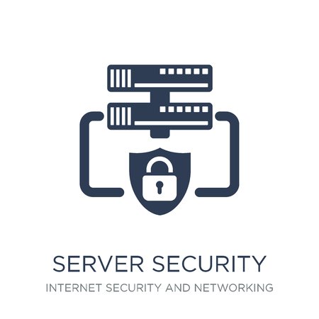 Symbol für Serversicherheit. Trendiges flaches Vektor-Server-Sicherheitssymbol auf weißem Hintergrund aus der Internetsicherheits- und Netzwerksammlung, Vektorillustration kann für Web und Mobile verwendet werden, eps10