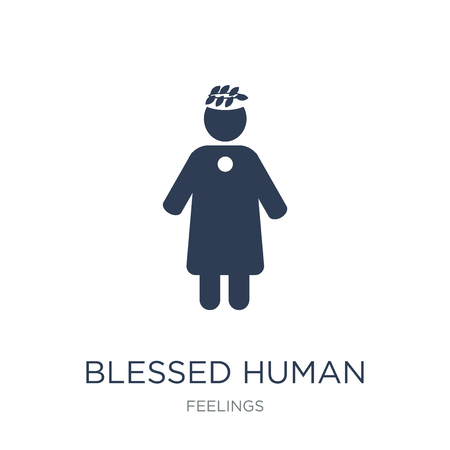 blessed human icon. Trendy flat vector blessed human icon on white background from Feelings collection, vector illustration can be use for web and mobile, eps10  イラスト・ベクター素材