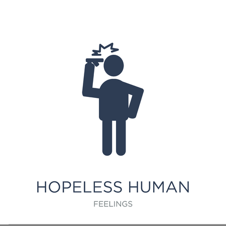 hopeless human icon. Trendy flat vector hopeless human icon on white background from Feelings collection, vector illustration can be use for web and mobile, eps10 Illustration