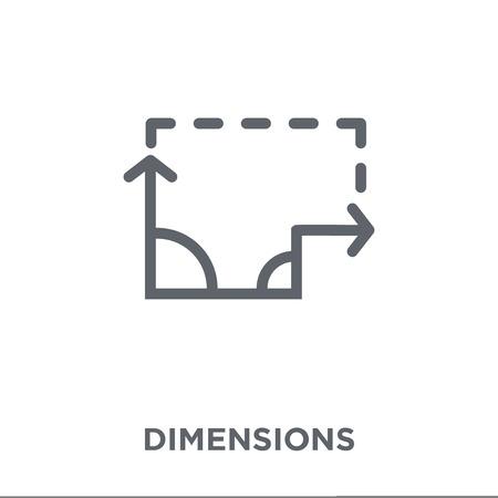 Bemaßungssymbol. Dimensions-Design-Konzept aus der Geometrie-Kollektion. Einfache Elementvektorillustration auf weißem Hintergrund.