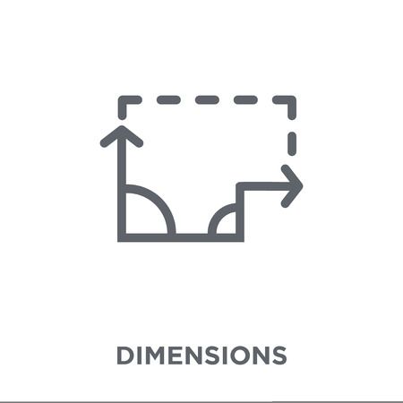 Dimensions icon. Dimensions design concept from Geometry collection. Simple element vector illustration on white background. Ilustração