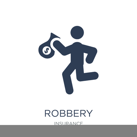 Robbery icon. Trendy flat vector Robbery icon on white background from Insurance collection, vector illustration can be use for web and mobile, eps10 Illustration